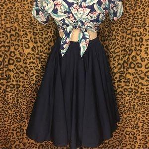 Eva Mendez navy circle skirt